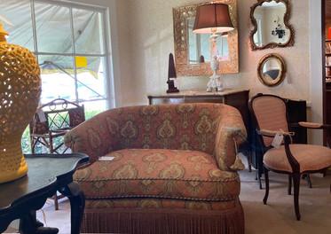 Raymond Waites loveseat/ Baker french chair/ Yellow Urn, BIG