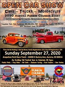 2020 Central Colorado Corvette Club Punkin Chunkin Open Car Show Flyer