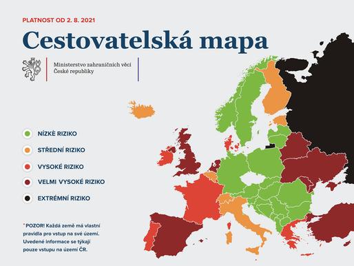 Andorra bude nově v tmavě červené kategorii podle míry rizika nákazy, Dánsko a Francie budou červené