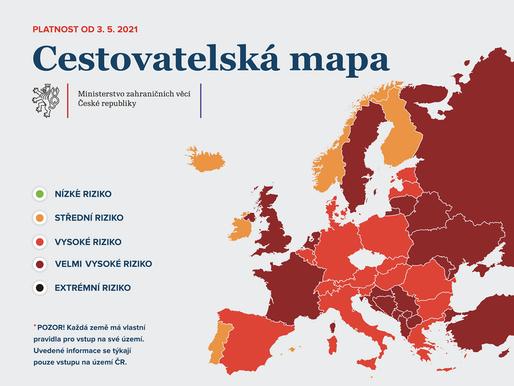 Od pondělí 3. května do červené kategorie se přesune Estonsko, Maďarsko, Polsko a další země