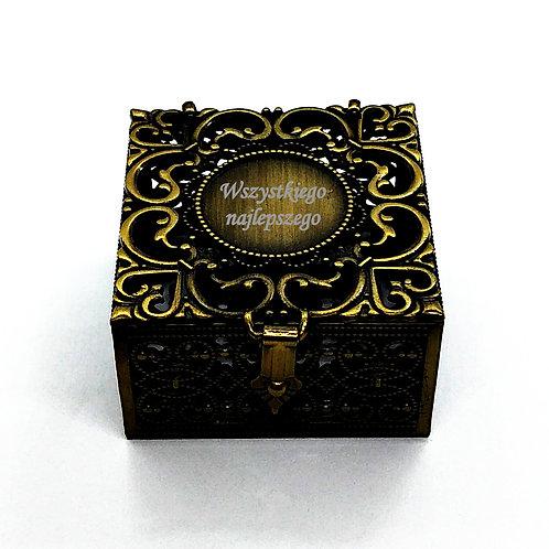 Szkatułka Brązowa Khaki GRAWER Gratis Na Pierścionek Na Różaniec Na biżuterię