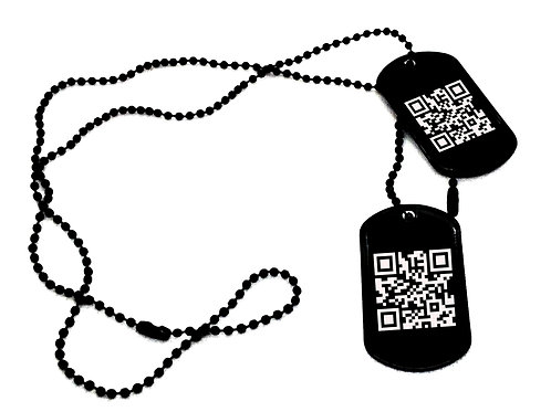 Nieśmiertelniki Czarne Stal GRAWER x4 Kod QR Kreskowy Spotify Prezent