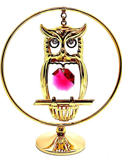 Figurka Sowa W Kole Swarovski Kryształy GRAWER Prezent