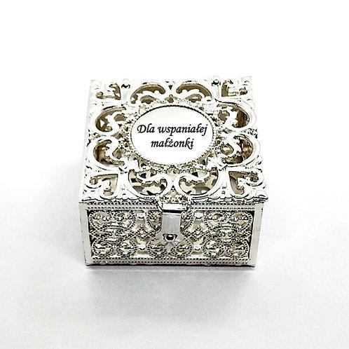 Szkatułka Srebrna GRAWER Gratis Na Pierścionek Na Różaniec Na biżuterię