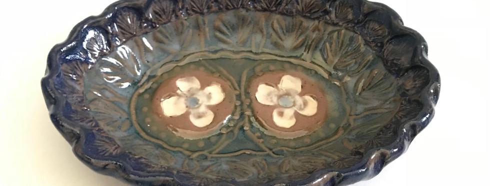 Dogwood blossom oval bowl