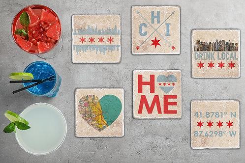Chicago Coaster Set - Mix & Match - Chicago Flag, Skyline, Drink Local, Neighbor