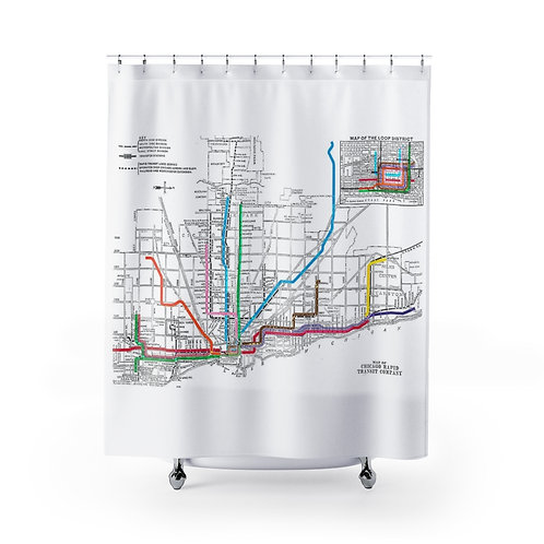 Chicago CTA Map Shower Curtain