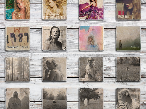 Taylor Swift Album Cover Coaster Bundle with Special Folklore Coaster