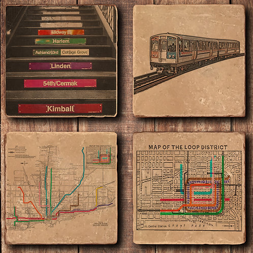 Chicago CTA Coaster Set - Vintage Map, Color Lines, Platform Stairs, Throw