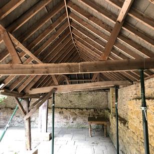 Oak barn restoration, pillars were collapsing.