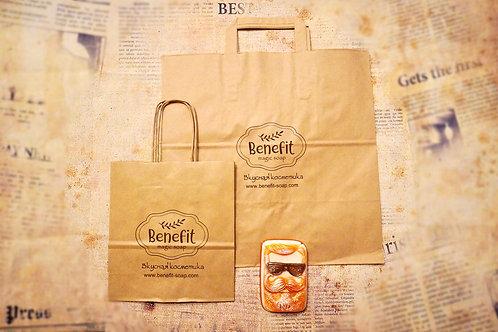 Крафт- пакет фирменный Benefit-Soap