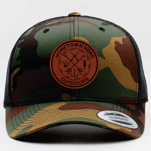 HHO Camo w/ Leather Patch - Snap Back