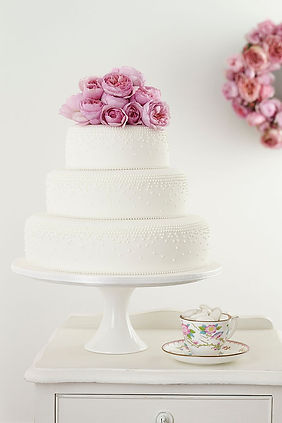 key west wedding cakes, pink flowers