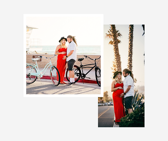 collage of pregnant woman in red dress with husband