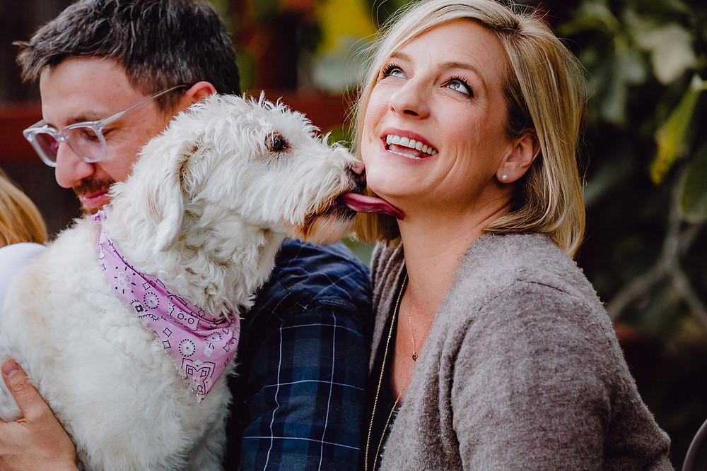 white fluffy dog licks a Mom's chin during lifestyle family photo session
