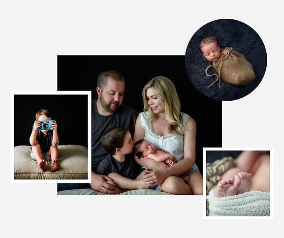collage of family photos with a mom, dad, toddler and newborn baby