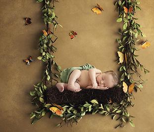 newborn on a floral swing