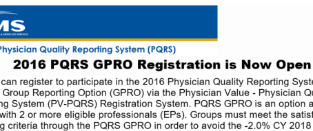 2016 PQRS GPRO Registration Now Open