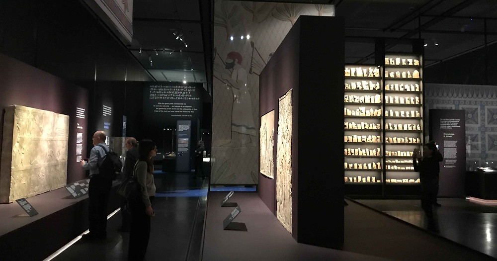 Photo of interior of Ashurbanipal exhibition at the British Museum