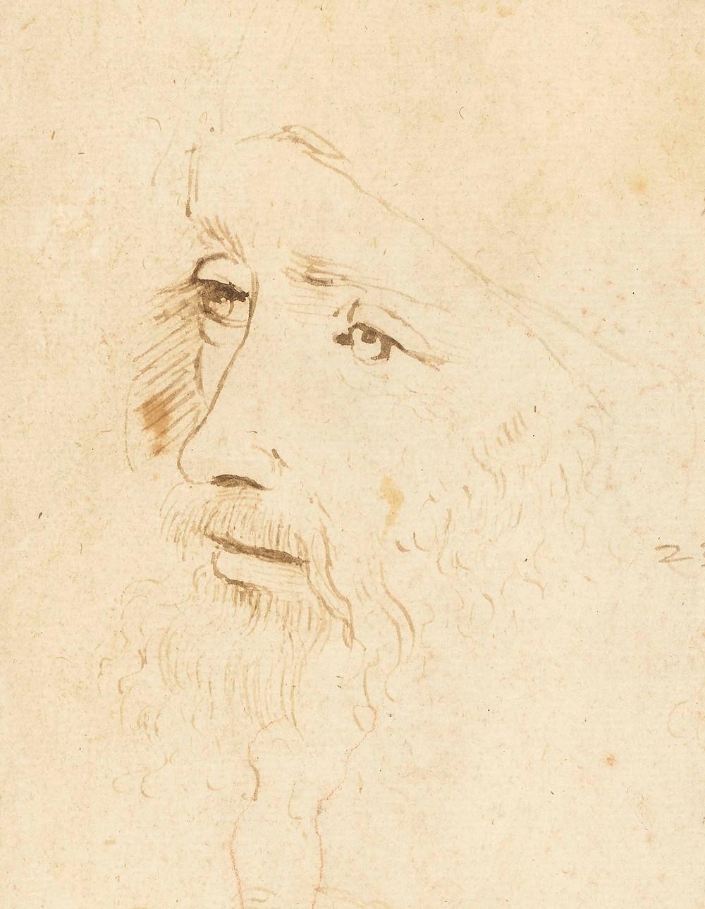 A sketch of Leonardo da Vinci, c.1517-18, by an assistant of Leonardo. Royal Collection Trust / (c) Her Majesty Queen Elizabeth II 2019