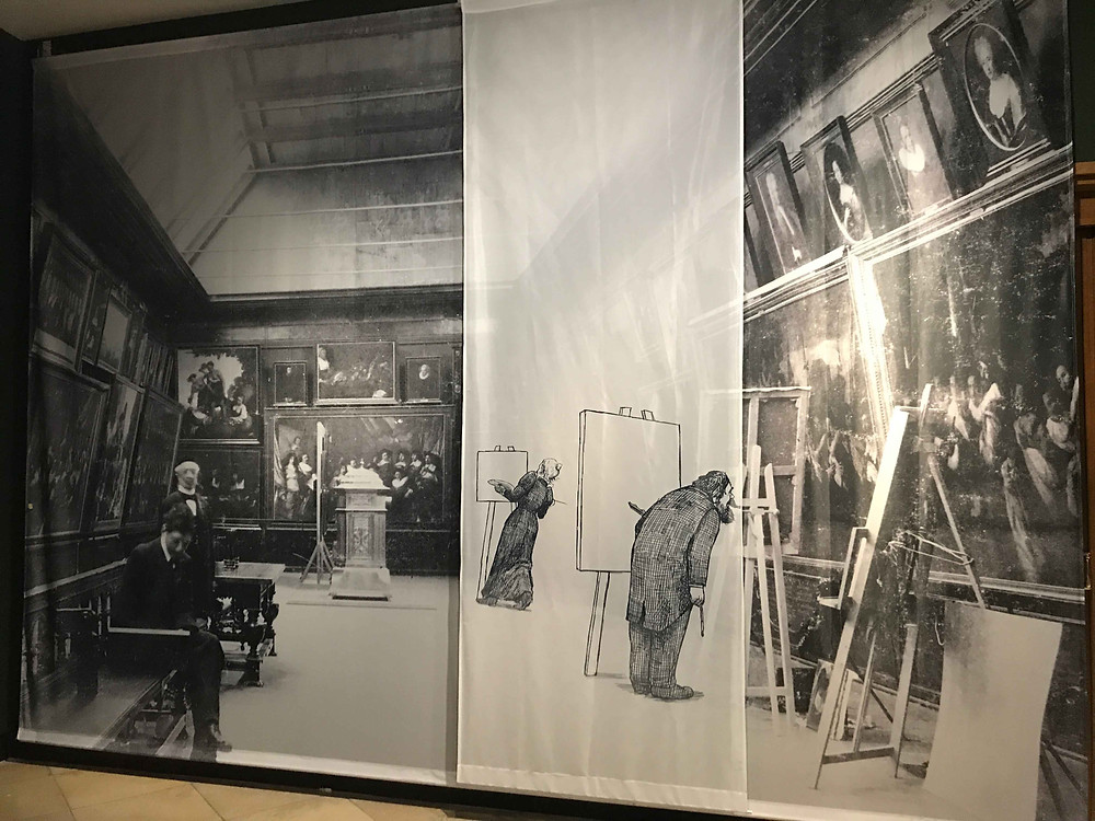 photo of exhibition in Frans Hals Museum showing impressionist painters working in their gallery