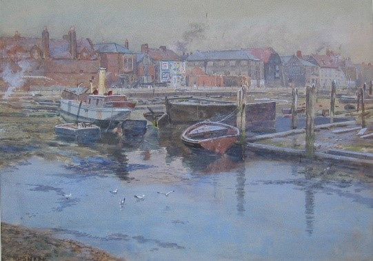 Painting of boats at Gosport harbour