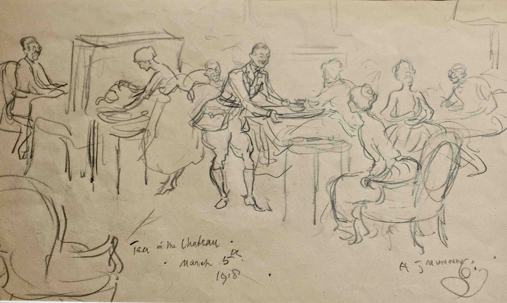 Drawings by Alfred Munnings of people taking tea in a chateau
