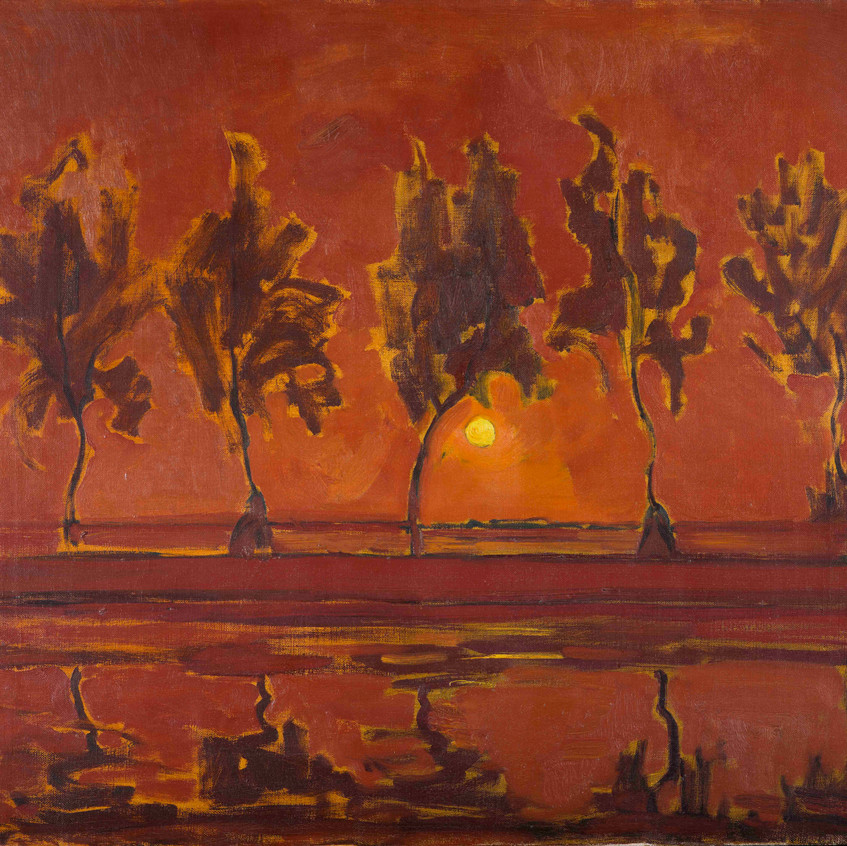 Piet Mondrian [1872-1944] Trees on the Gein: moonrise, 1907-1908