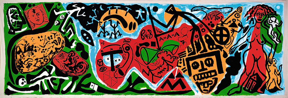 A.R. Penck (1939–2017) Edinburgh (Northern Darkness III), 1987 Dispersion on canvas, 318 x 970 cm Birkelsche Stiftung für Kunst und Kultur © DACS, 2019