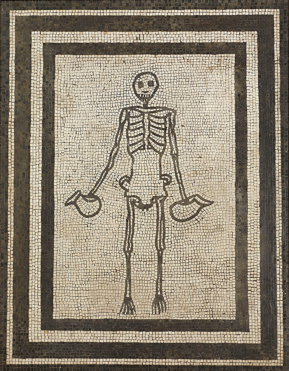 Roman mosaic showing skeleton holding two askoi or wine jugs