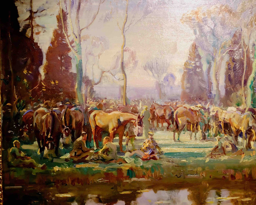 Painting by Munnings of soldiers by a river