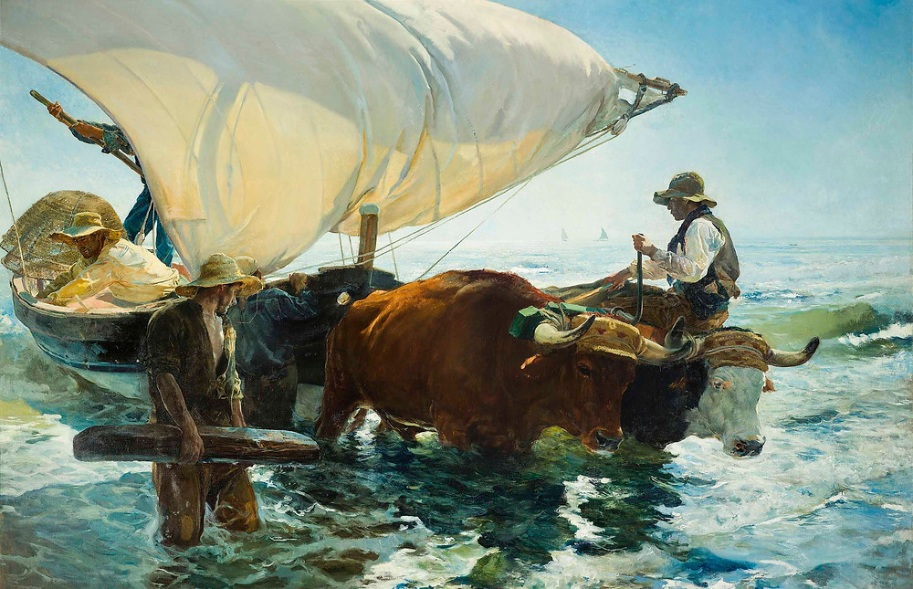 Painting by Joaquín Sorolla, The Return from Fishing