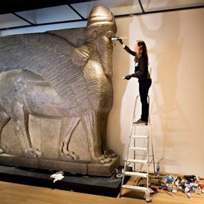 Gigantic Assyrian bull deities on display  in Nineveh exhibition