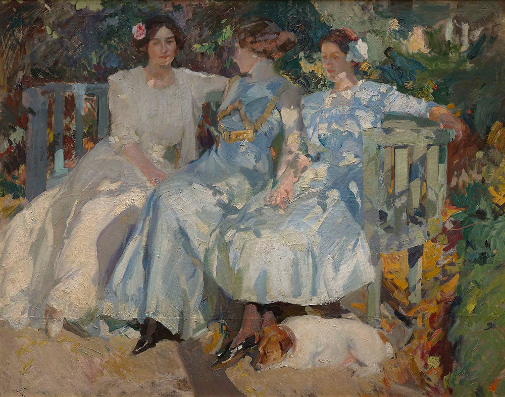 Painting by Joaquín Sorolla, My Wife and Daughters in the Garden