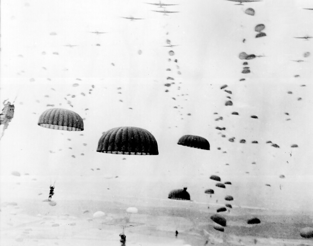 A sea of parachutes dropping during operation market garden