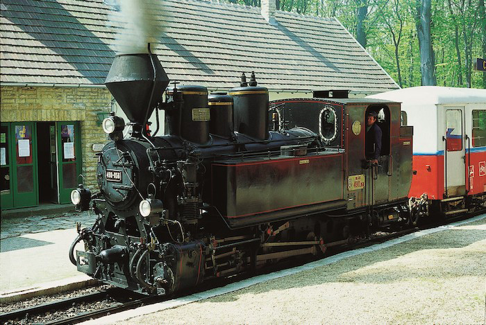 Picture of a steam engine from the Children's Railway in Budapest