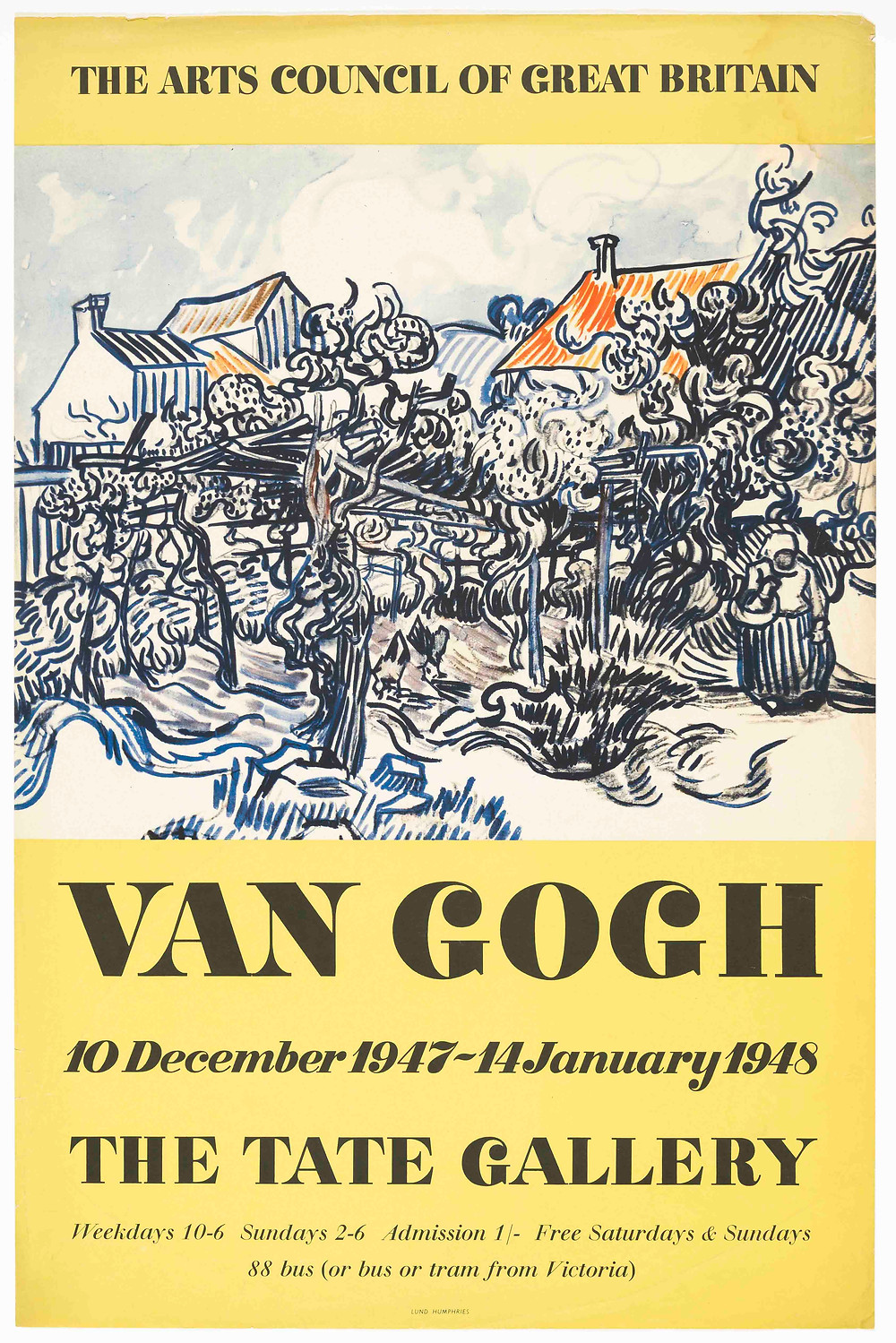 Poster from 1948 about exhibition of Van Gogh Paintings at the Tate Gallery