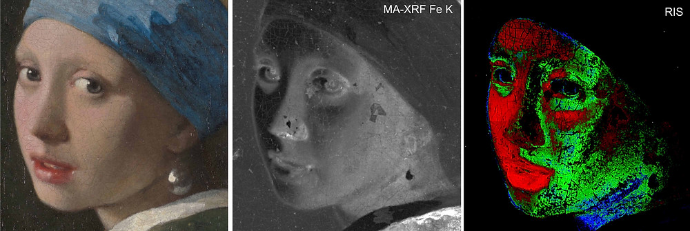 Above: Vermeer used different pigments and paint mixtures to paint the Girl's face.  Left: Visible light photograph [René Gerritsen Art & Research Photography]  Middle: Earth pigments containing iron (Fe) were detected using macro-X-ray fluorescence scanning (MA-XRF). [Annelies van Loon: Mauritshuis/Rijksmuseum]  Right: Reflectance imaging spectroscopy (RIS) mapped the pigment mixtures: red is mainly vermilion, green is yellow ochre mixed with vermilion, and blue is mainly yellow ochre.  [John Delaney and Kate Dooley: National Gallery of Art, Washington.]