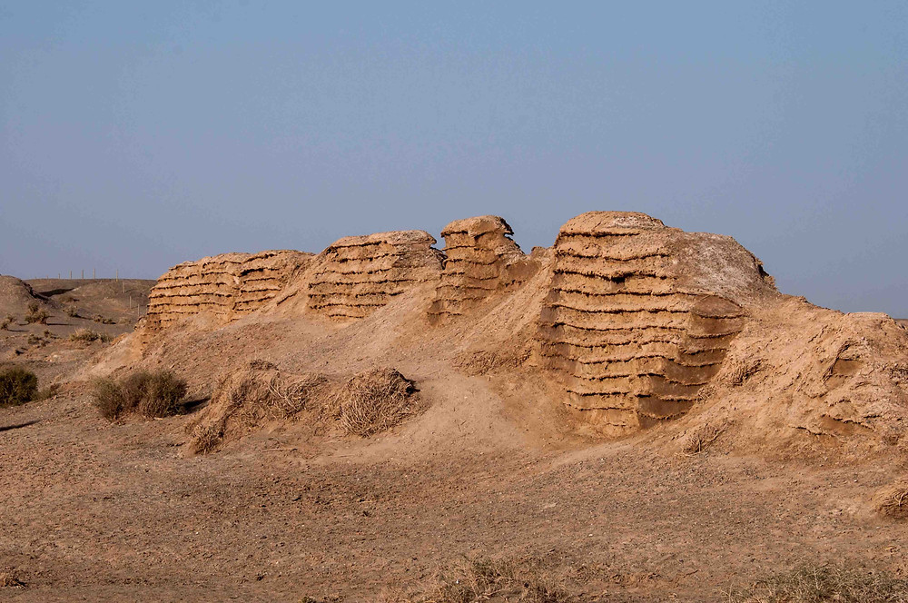Earliest remains of the Great Wall of China which was made of mud brick