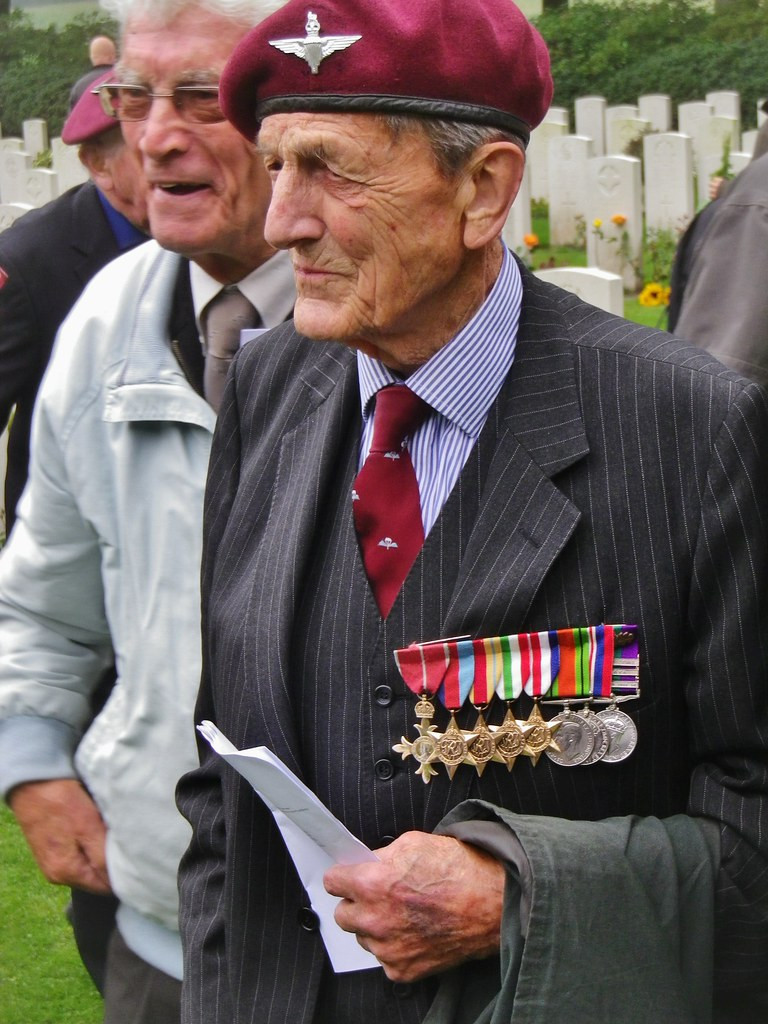 Photo of Colonel John Waddy at a remembrance service in the Netherlands