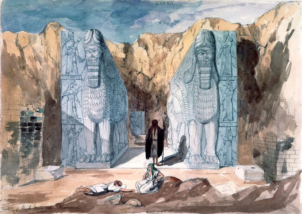 Watercolour painting of Nimrud showing the two winged bulls with human faces