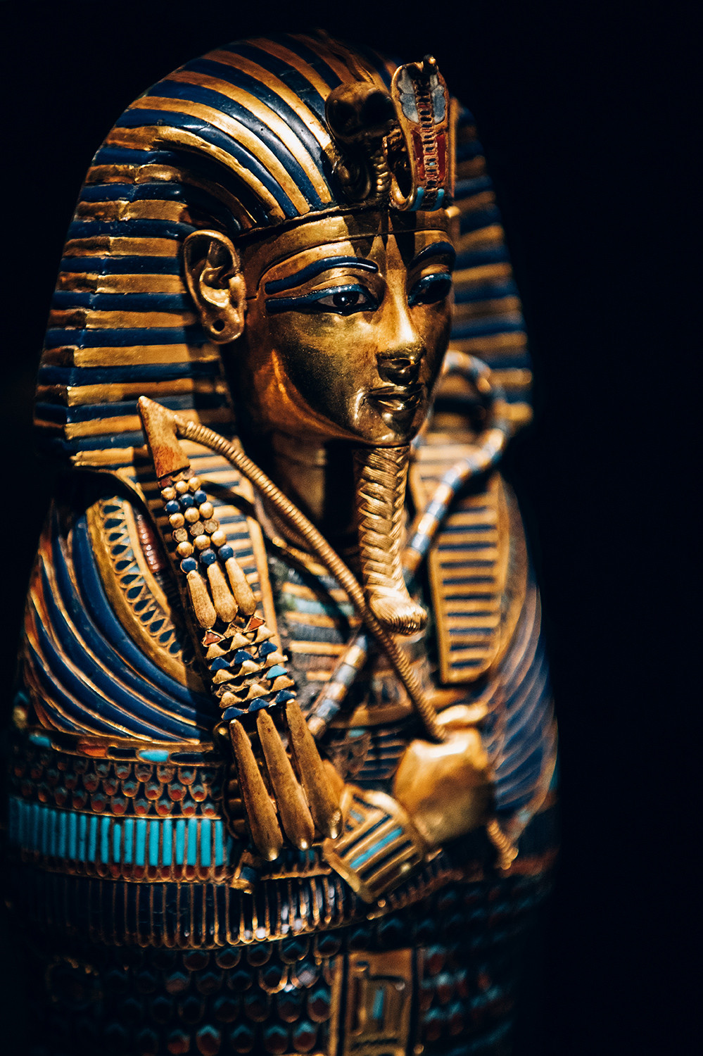 Gold Inlaid Canopic Coffinette of Tutankhamun Dedicated to Imseti and Is