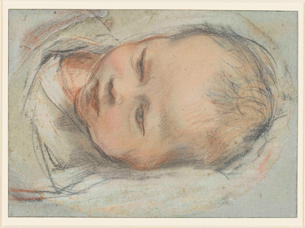 Federico Barocci drawing of The head and shoulders of a swaddled baby, lying down