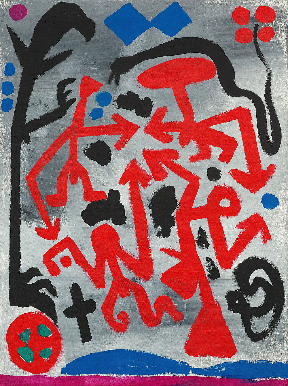 A.R. Penck (1939–2017) Libanon II, 1987 Acrylic on canvas, 80 x 60 cm Private collection. © DACS, 2019