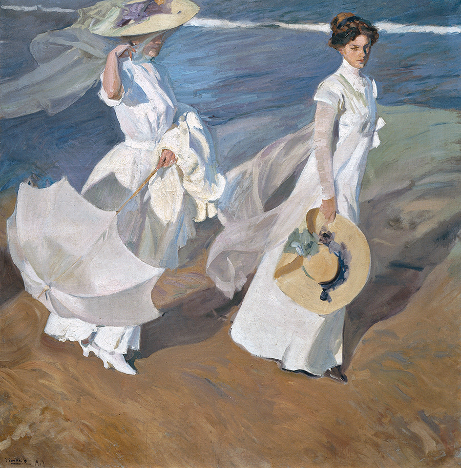 Painting by Joaquín Sorolla, Strolling along the Seashore