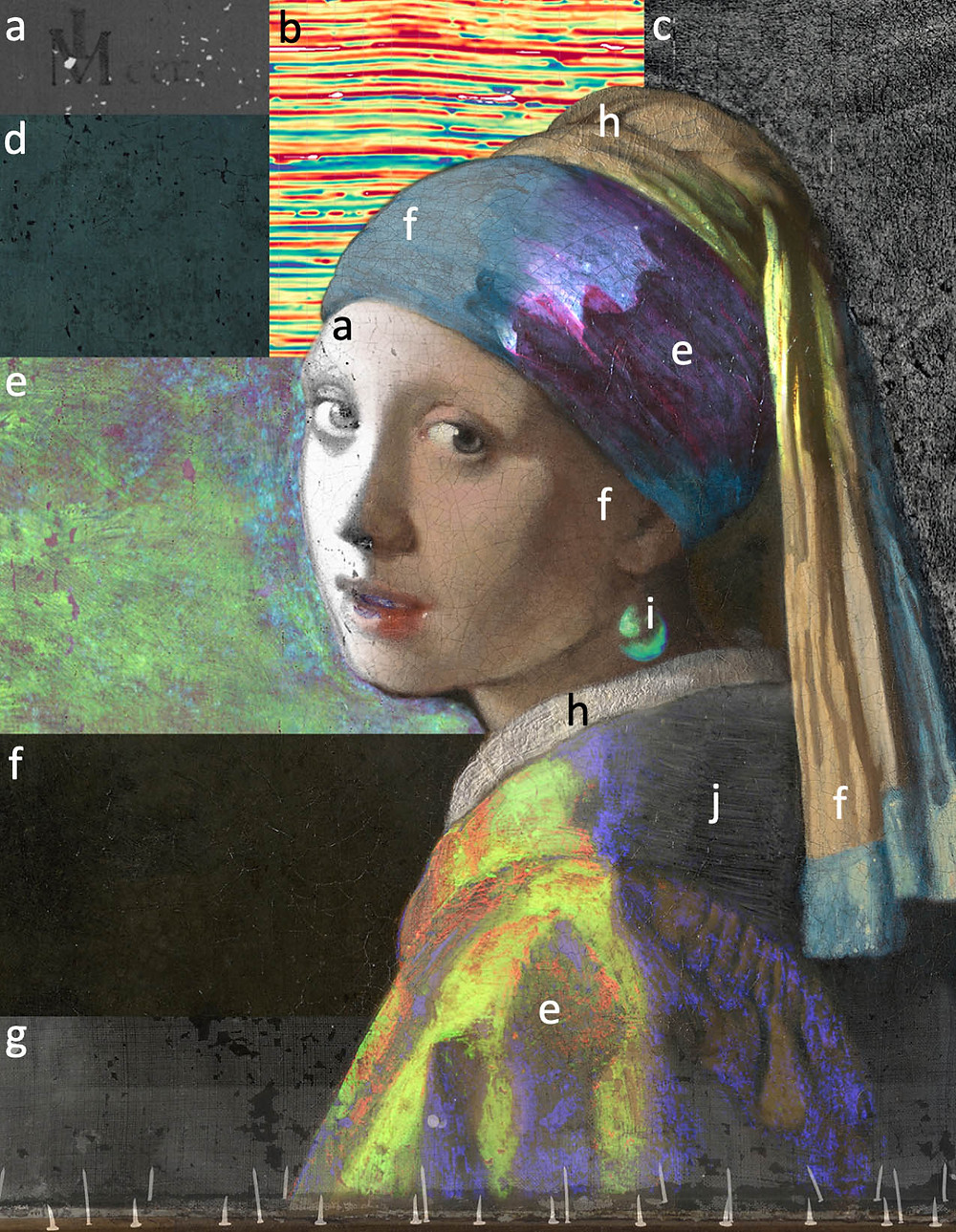 Composite image of Girl with a Pearl Earring from images made during the Girl in the Spotlight project using a number of different imaging techniques