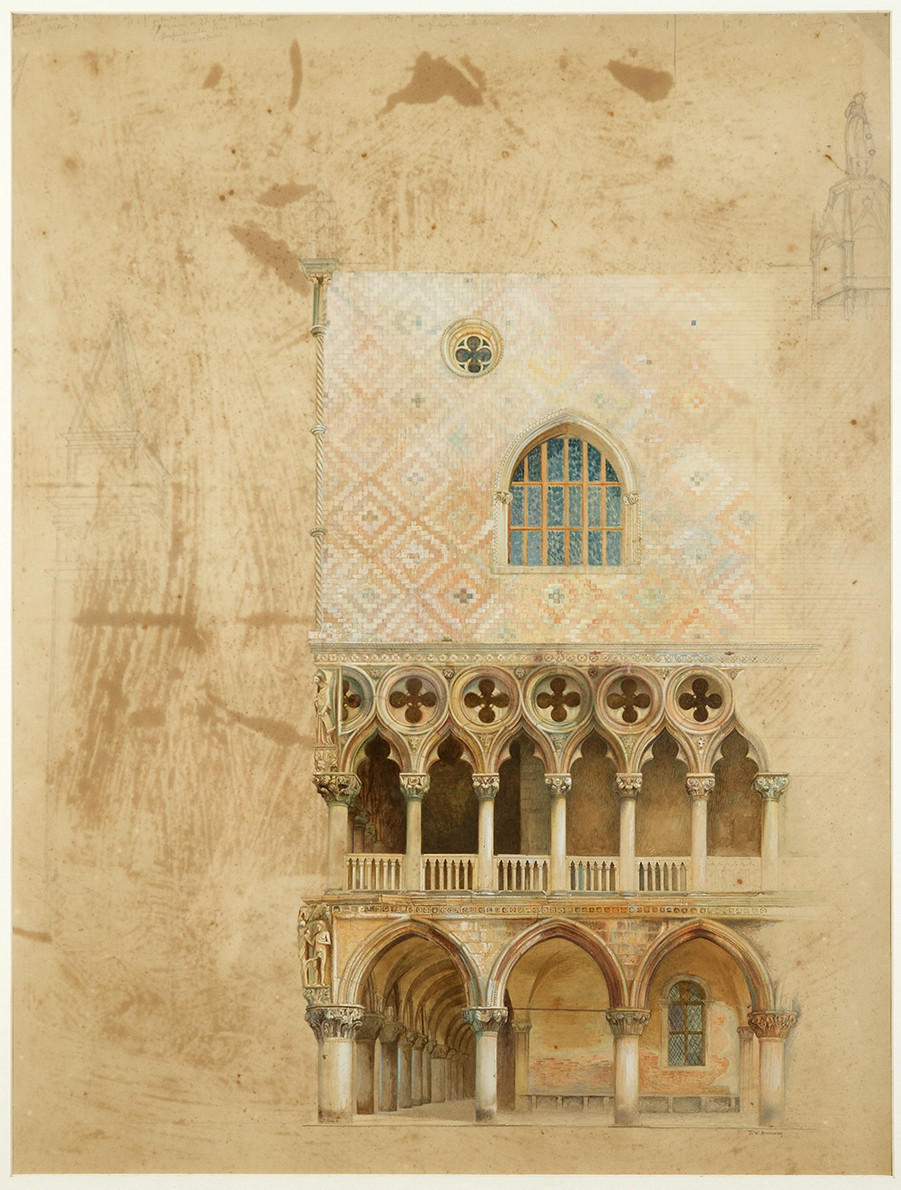 Drawing of south west corner of Doge's Palace in Venice by JW Bunney