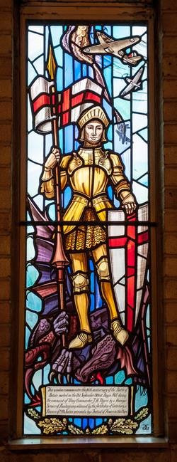 Stained glass window showing Saint George