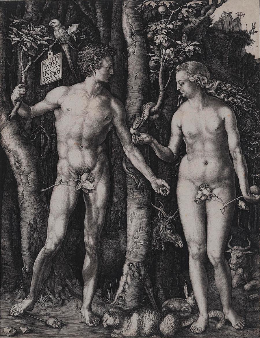 Albrecht Dürer engraving of Adam and Eve