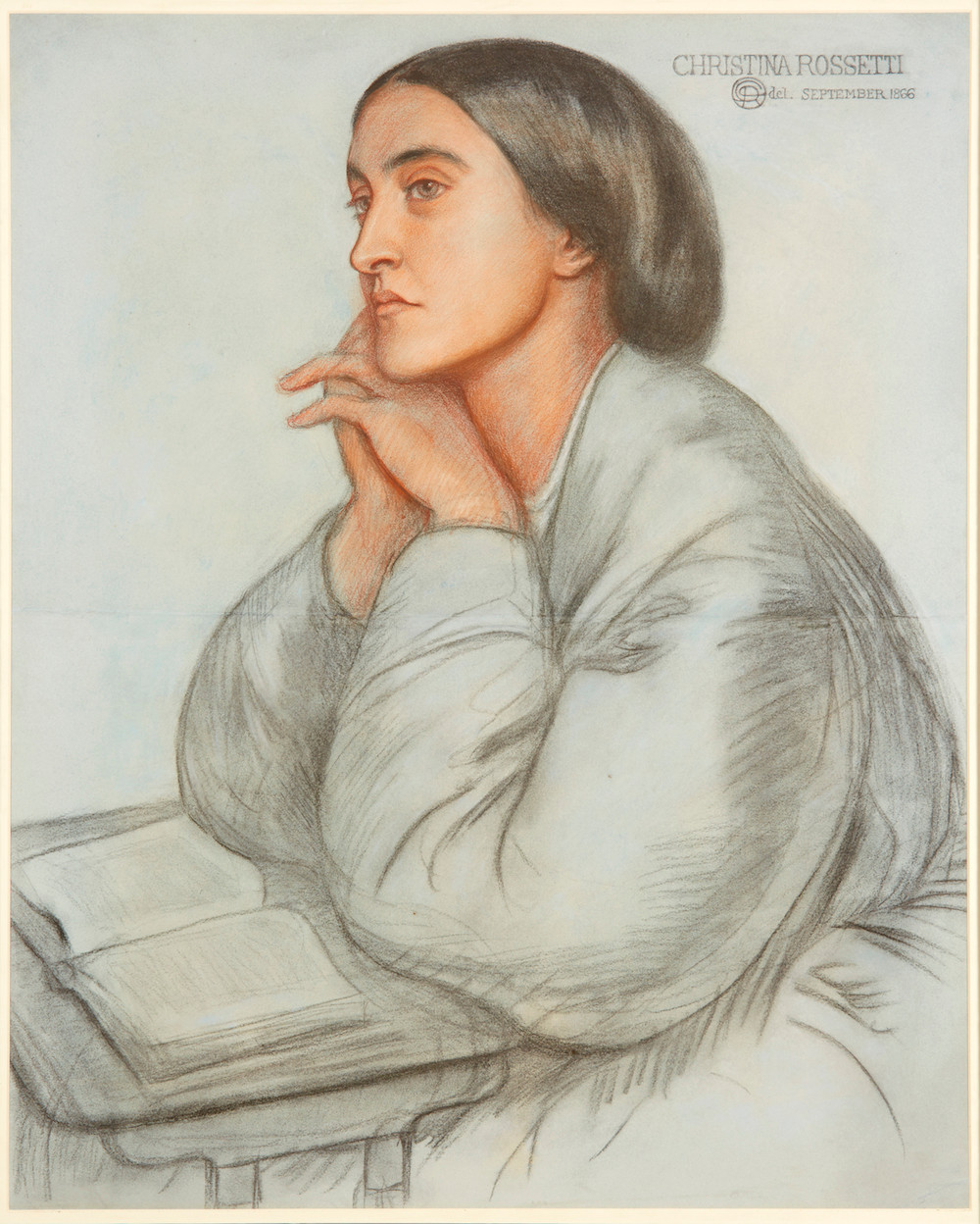 drawing of a young woman, Christina Rossetti